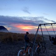 Seaside Sunset Swingset Bikes