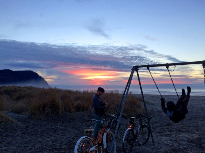 Seaside Sunset Swingset Bikes