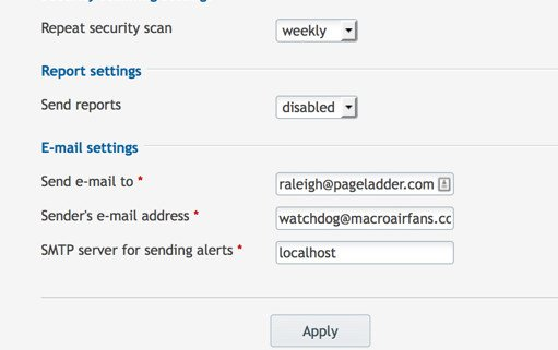 Watchdog E-mail Settings